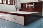 Giường ngủ có hộc kéo bằng gỗ Sồi Mỹ nhà Chị My, Phú Nhuận, TPHCM