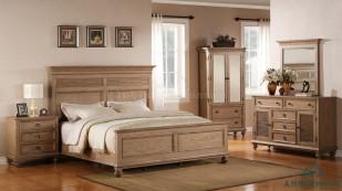 Bộ giường ngủ bằng gỗ Sồi - GTN 01