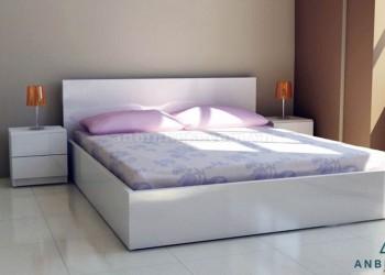 Giường ngủ gỗ MFC màu trắng - GCN 05