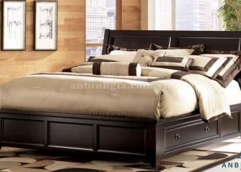 Giường gỗ Sồi Mỹ có hộc tủ - GNK 05