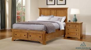 Giường ngăn kéo bằng gỗ Sồi Mỹ - GNK 09