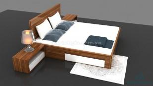 Giường có hộc tủ bằng gỗ MDF - GNK 12
