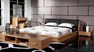 Giường kiểu Nhật gỗ MDF bọc nệm-GKN 19