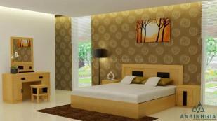 Giường ngủ MDF vân gỗ Sồi Mỹ - GCN 24