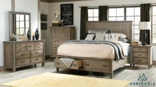 Giường có hộc kéo bằng gỗ Sồi Mỹ-GNK 31