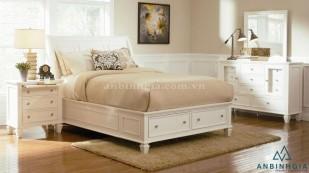 Giường ngăn kéo gỗ Sồi sơn trắng - GNK 38