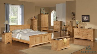 Bộ giường tủ gỗ Sồi trắng - GTN 51