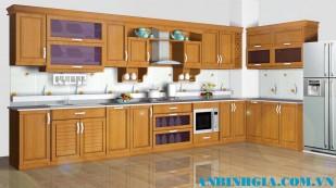 Tủ bếp bằng gỗ Sồi Mỹ - MS 04