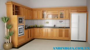 Tủ bếp bằng gỗ Sồi Nga - MS 05