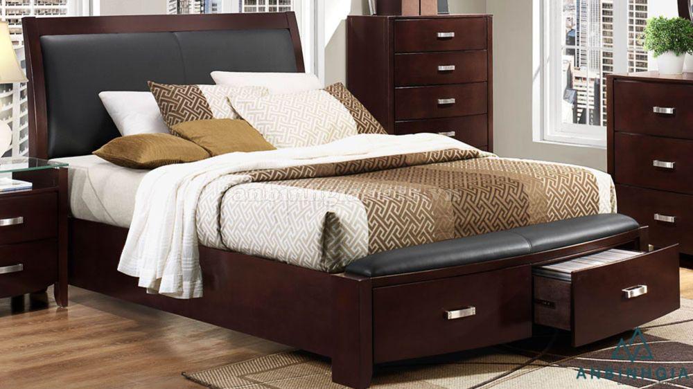 Giường có hộc tủ bằng gỗ Xoan Đào - 02