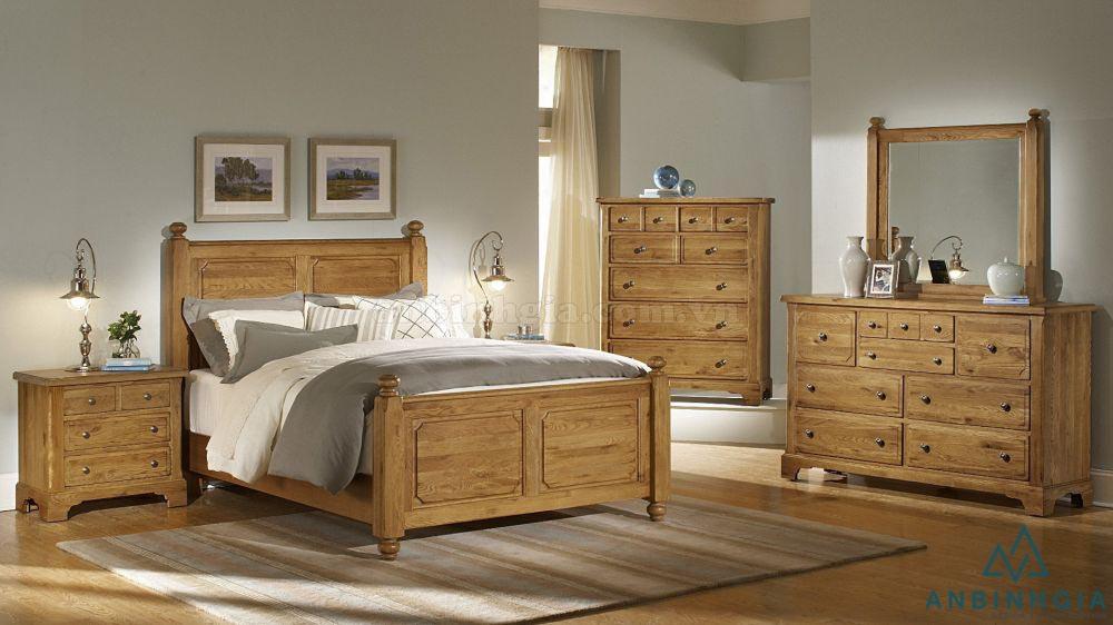Bộ giường ngủ gỗ Sồi trắng - GTN 03
