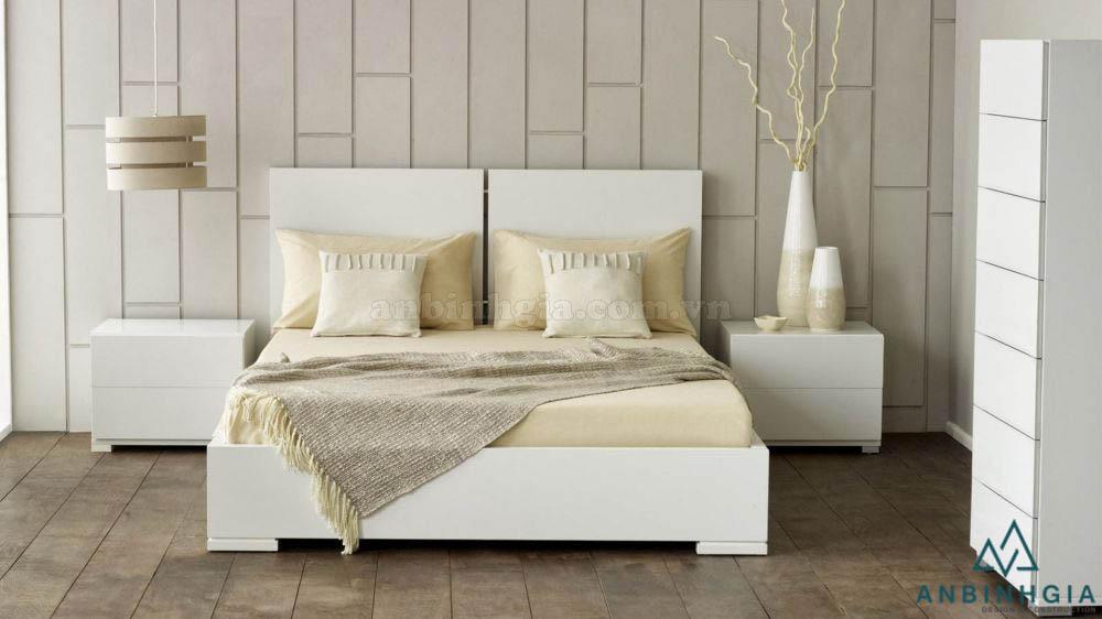Giường ngủ gỗ MDF màu trắng - GCN 03