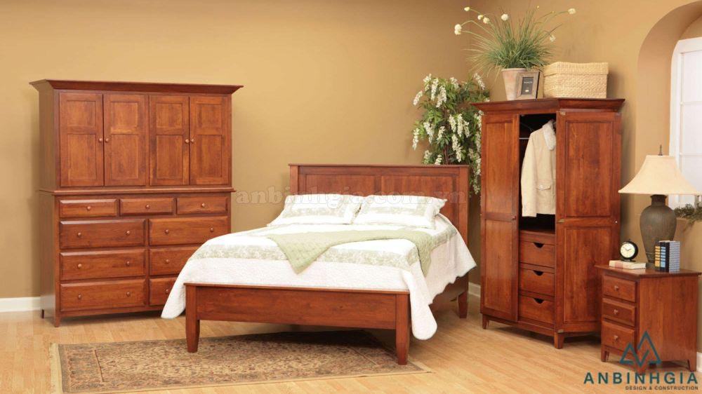 Bộ giường ngủ bằng gỗ Xoan Đào - GTN07