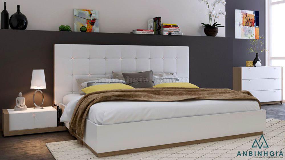 Giường ngủ bằng MDF bọc nệm - GCN 13