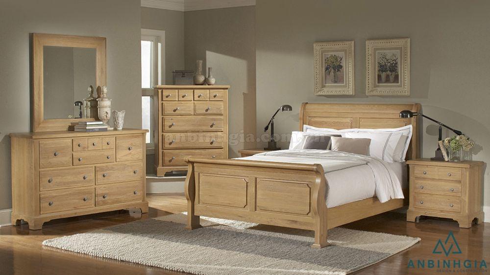Bộ giường tủ bằng gỗ Sồi Mỹ - GTN 14