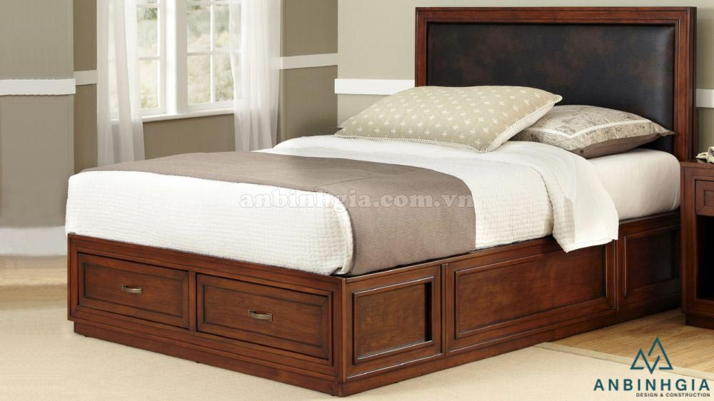 Giường ngủ có hộc gỗ Xoan Đào - GNK 15