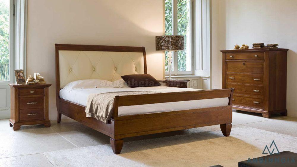 Giường gỗ Xoan Đào bọc simili - GTN 18