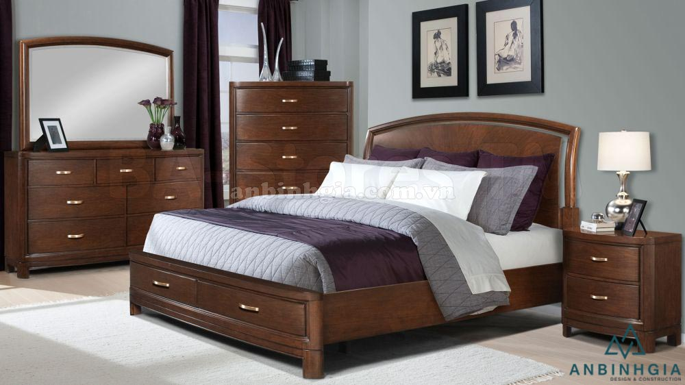 Giường ngủ gỗ Sồi có ngăn kéo - GNK 21