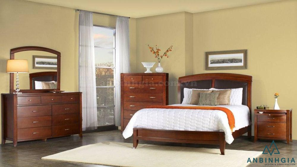 Bộ giường tủ bằng gỗ Xoan Đào - GTN 28