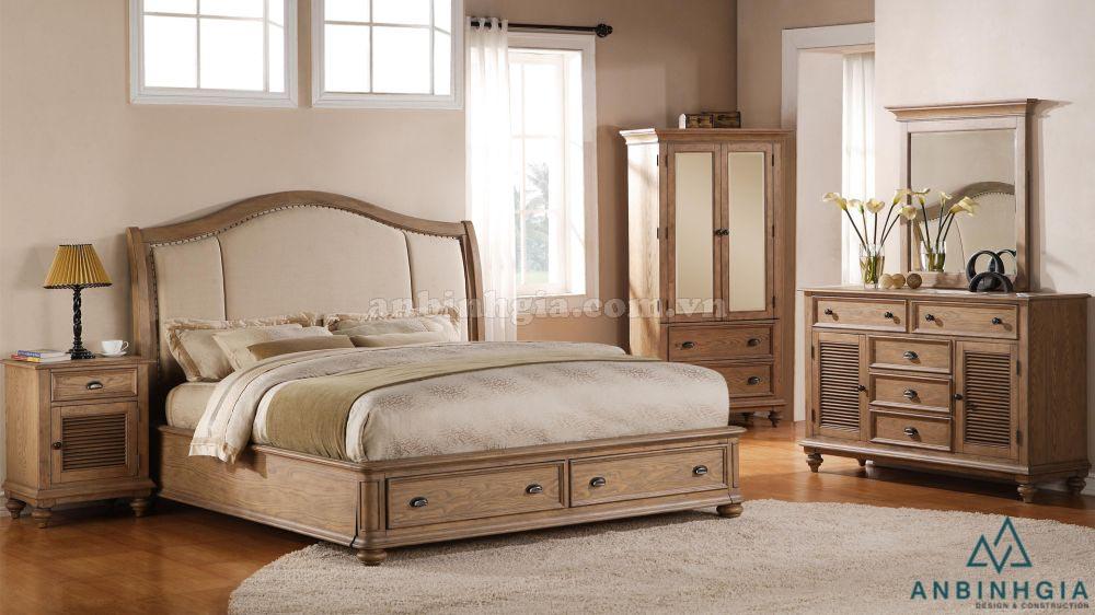 Giường có hộc tủ bằng gỗ Sồi Mỹ - GNK 32