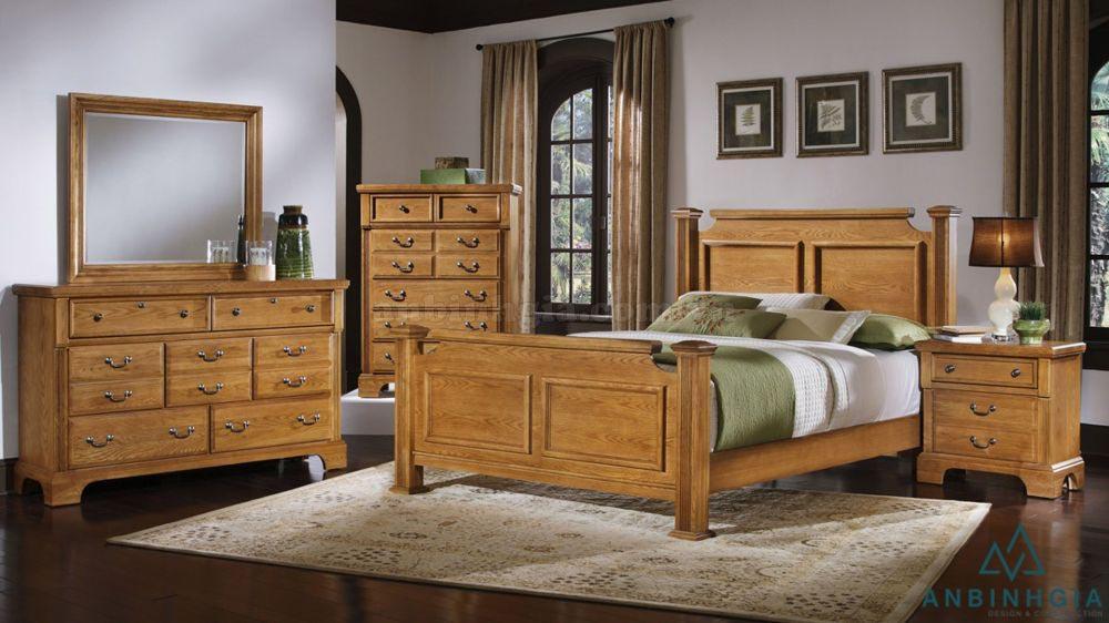 Bộ giường tủ bằng gỗ Sồi - GTN 33