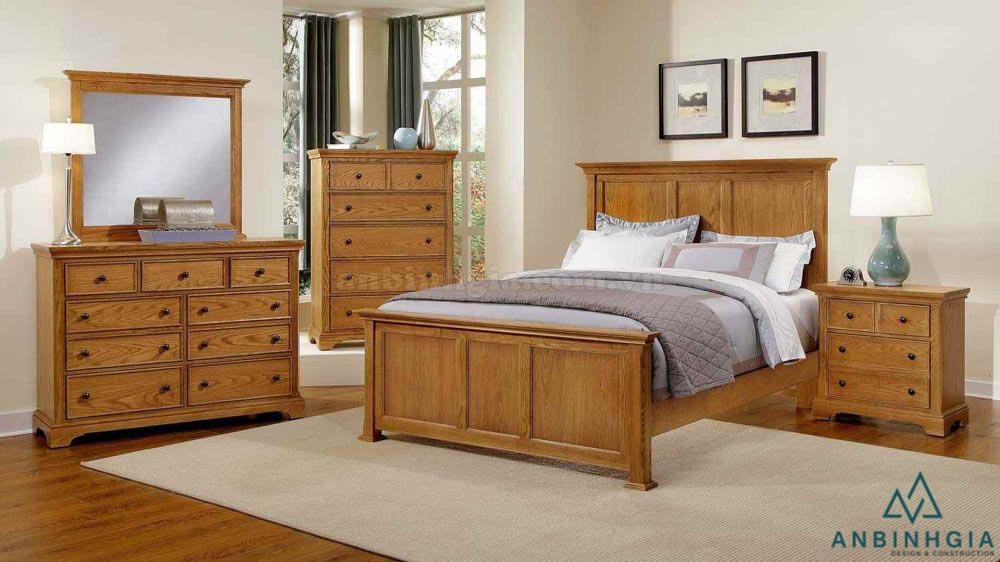 Bộ giường tủ gỗ Sồi Mỹ - GTN 34