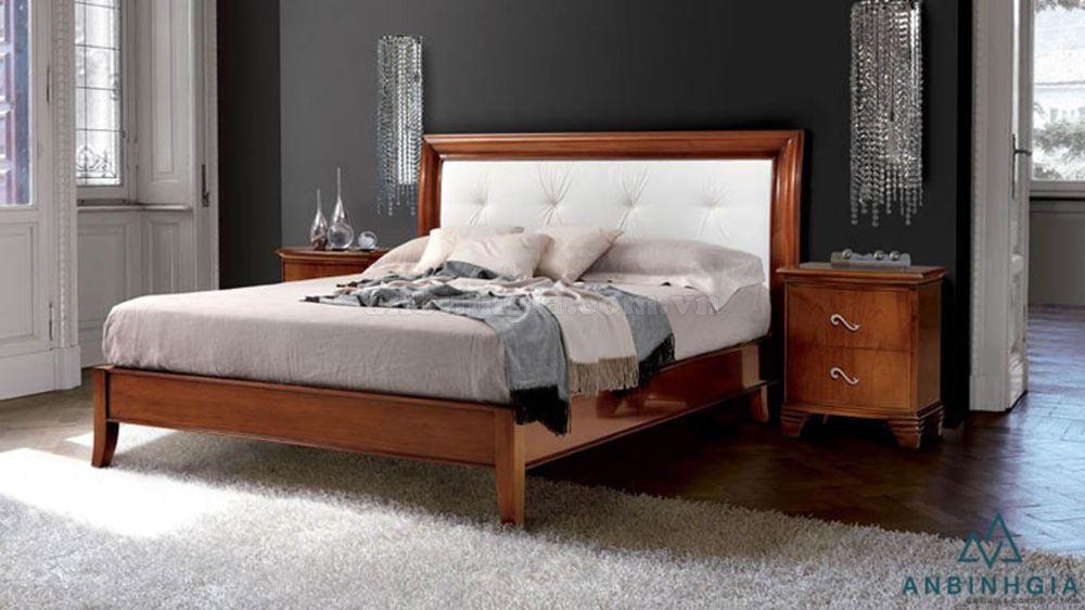 Giường gỗ Sồi trắng bọc da - GTN 39