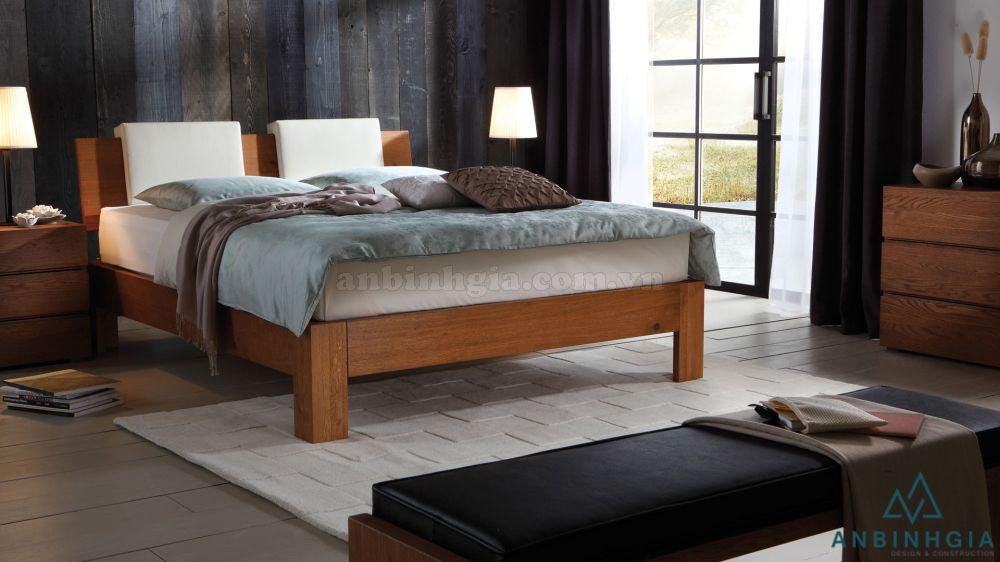 Giường gỗ Sồi Mỹ bọc simili - GTN 42