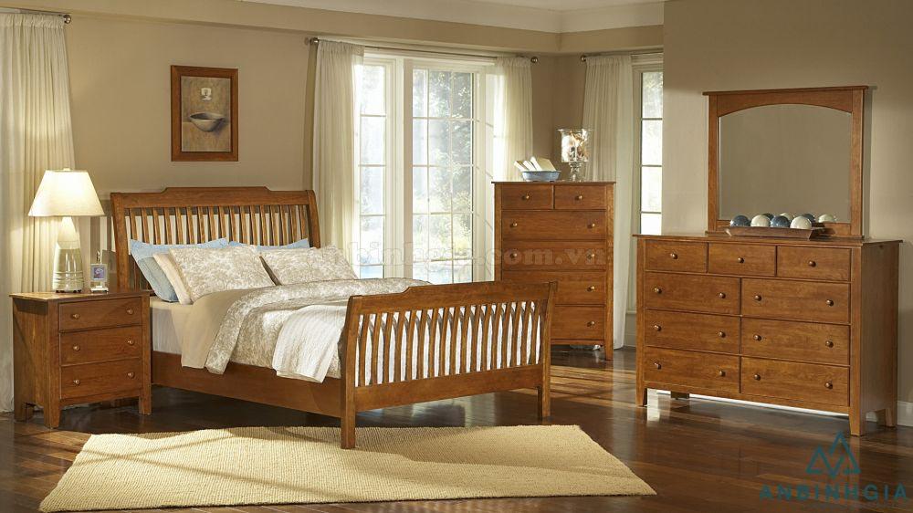 Giường đôi gỗ Sồi Mỹ tự nhiên - GTN 45