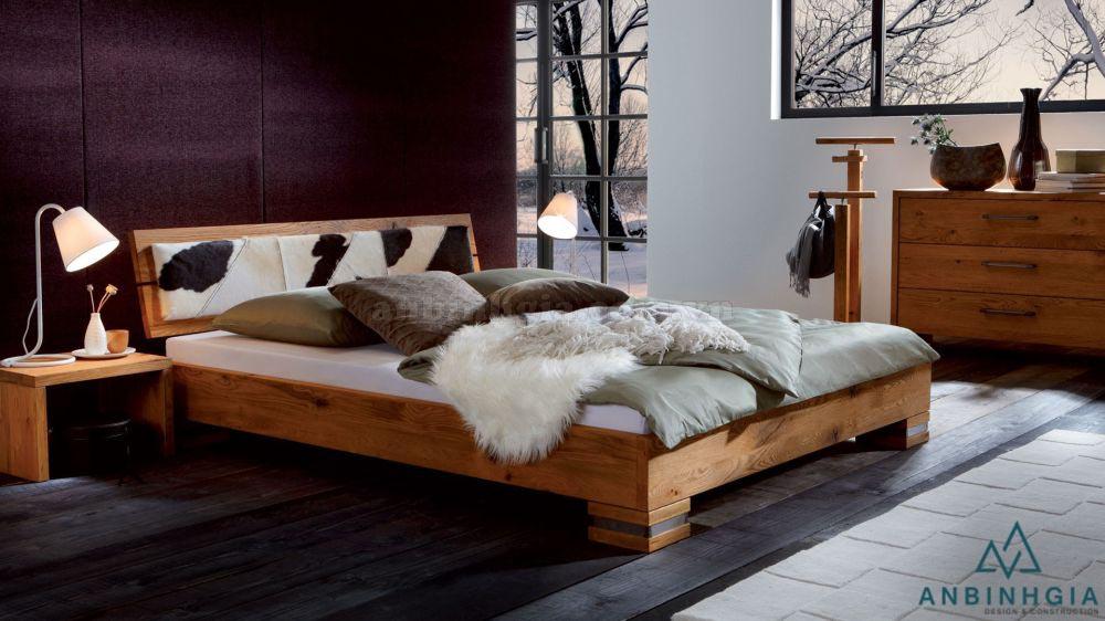 Giường gỗ Sồi Mỹ nguyên khối - GTN 50