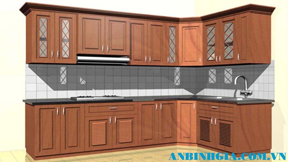 Tủ bếp bằng gỗ Xoan Đào - MS 07