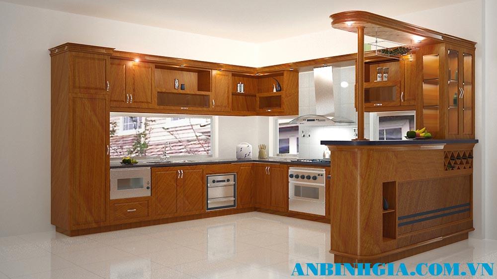 Tủ bếp đẹp có quầy bar - MS 18
