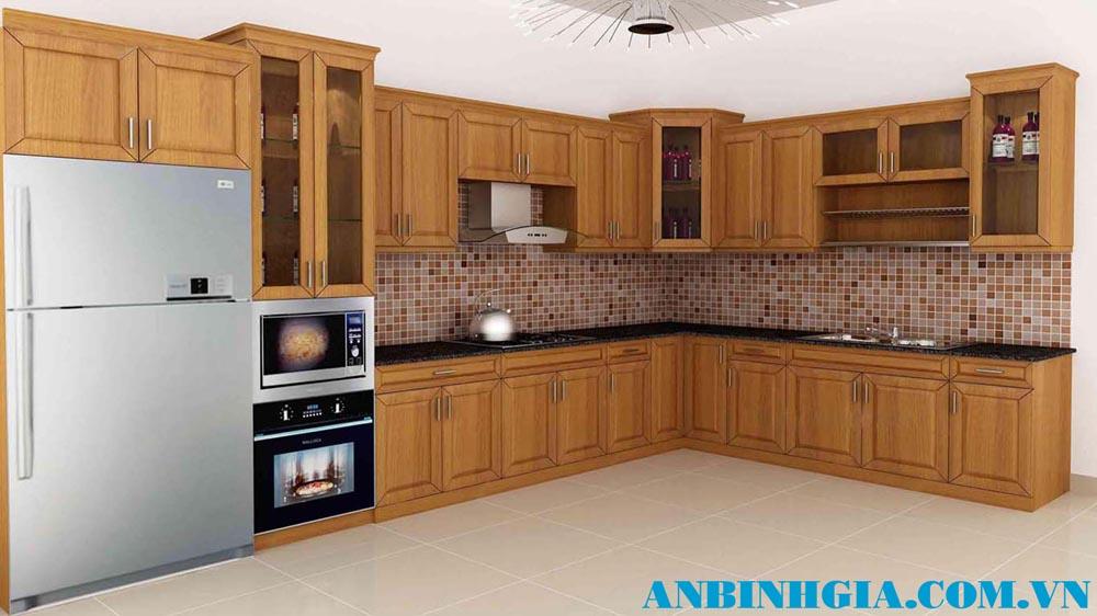 Tủ bếp đẹp gỗ Sồi Mỹ - MS 21