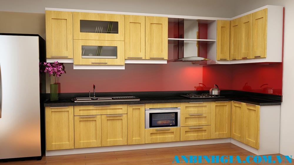 Tủ bếp đẹp gỗ Sồi Nga - MS 22