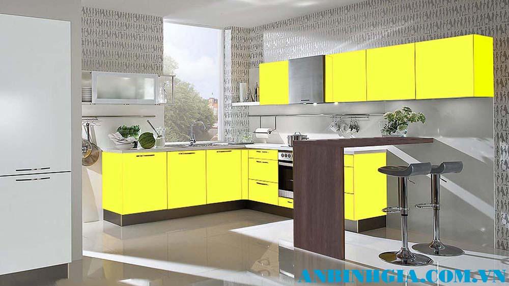 Tủ bếp đẹp màu vàng - MS 27