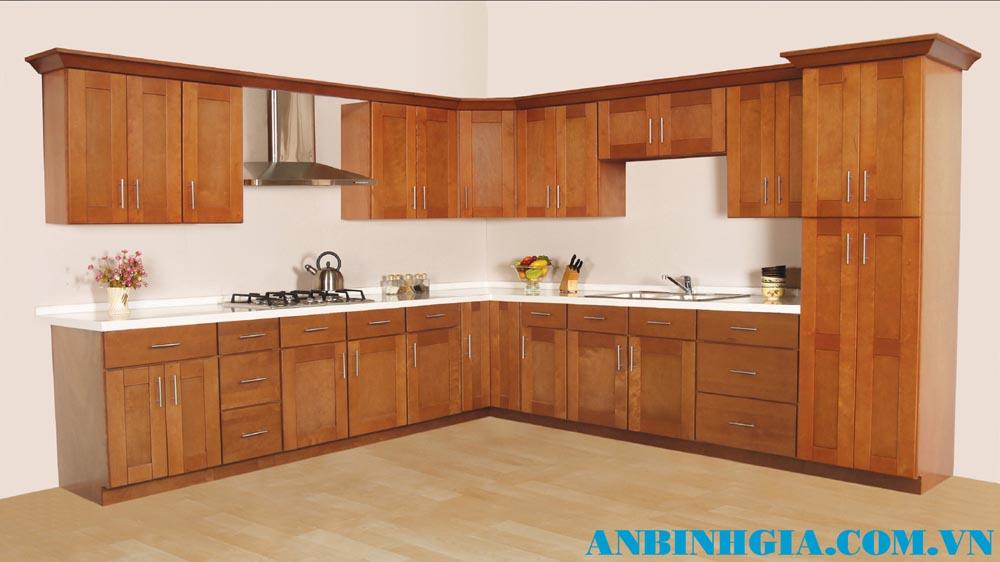 Tủ bếp gia đình gỗ tự nhiên - MS 33