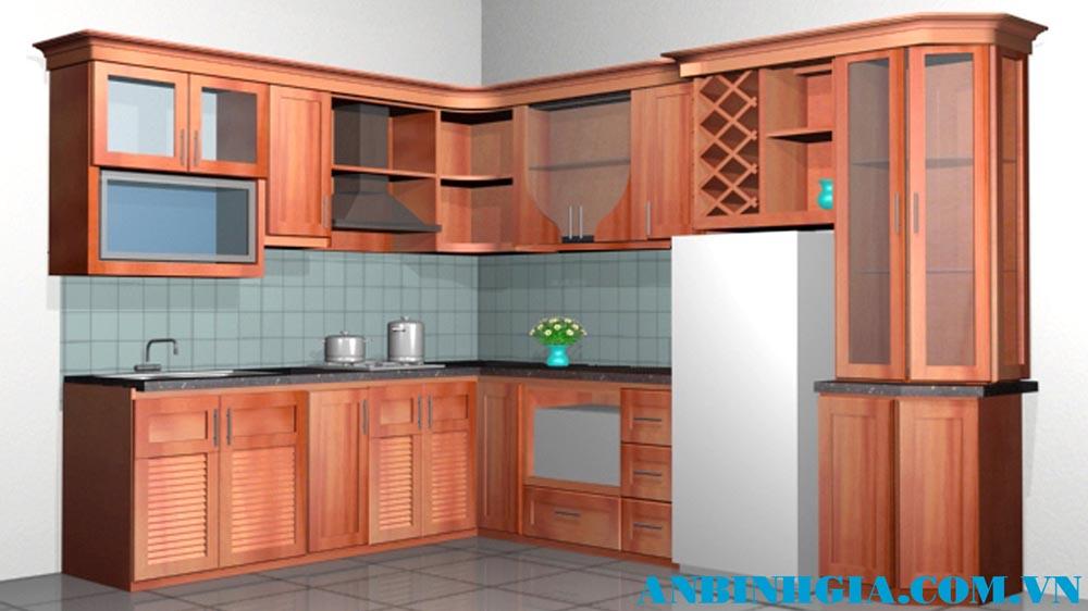 Tủ bếp gỗ Căm Xe tự nhiên - MS 36