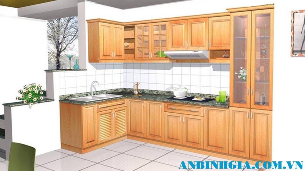 Tủ bếp gỗ cho nhà nhỏ - MS 38