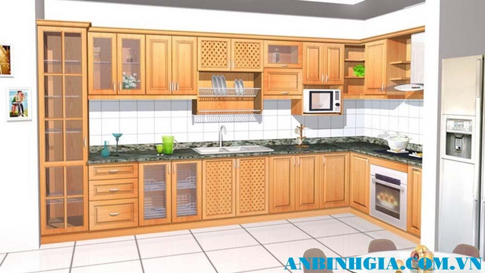 Tủ bếp gỗ chữ L - MS 40