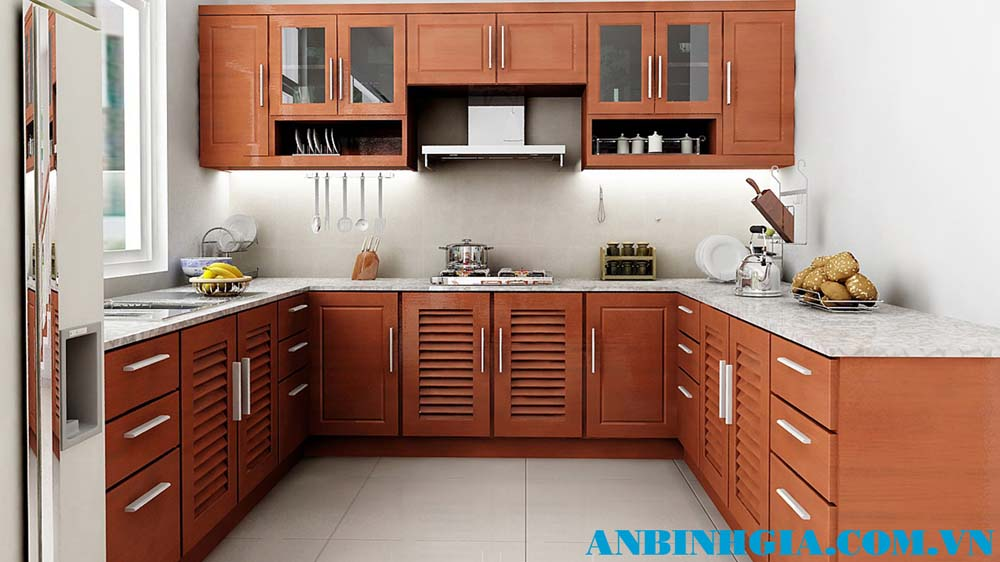 Tủ bếp gỗ chữ U - MS 41