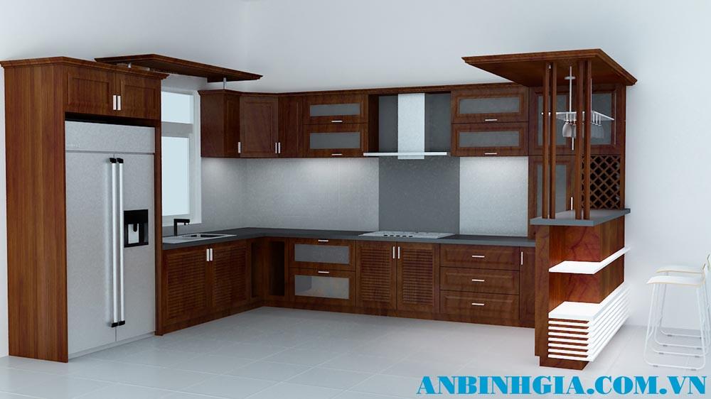 Tủ bếp gỗ có quầy bar - MS 46