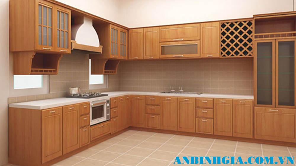 Tủ bếp gỗ Sồi Mỹ đẹp - MS 57