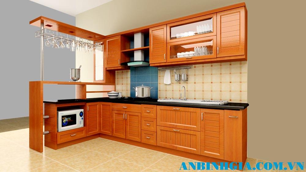 Tủ bếp gỗ Sồi Mỹ tự nhiên - MS 58