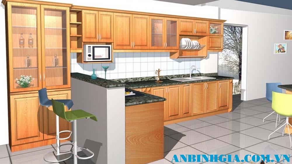 Tủ bếp gỗ Sồi Nga đẹp - MS 59