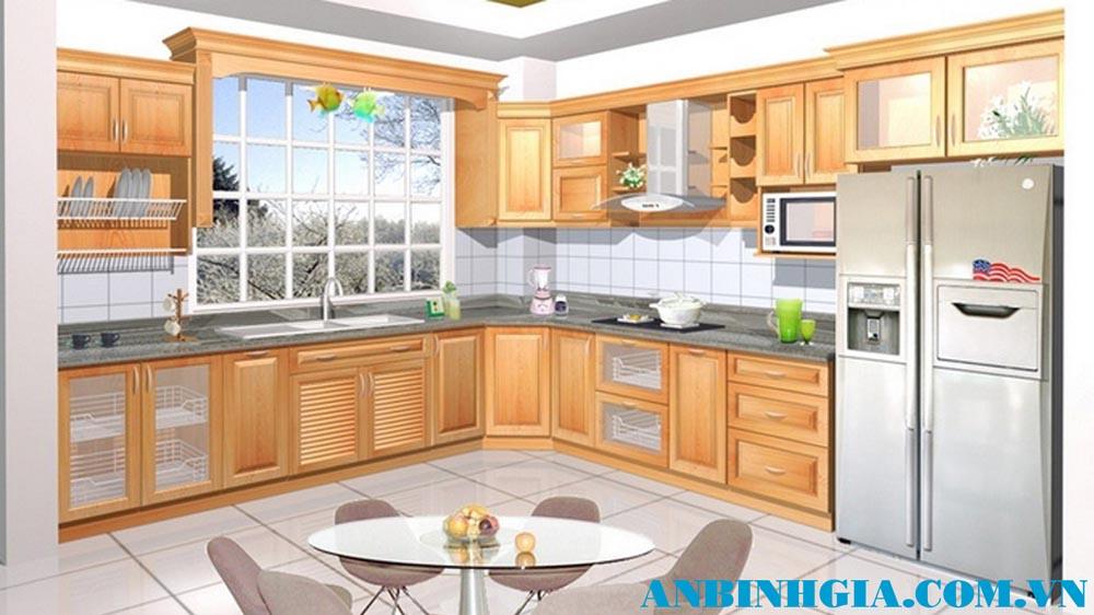 Tủ bếp gỗ Sồi Nga tự nhiên - MS 60