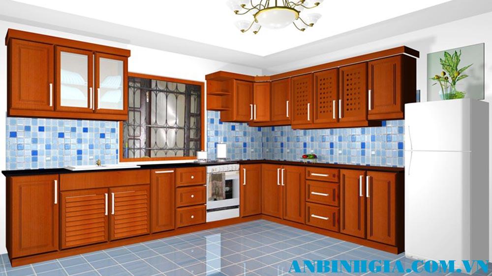 Tủ bếp gỗ tự nhiên Căm Xe - MS 64