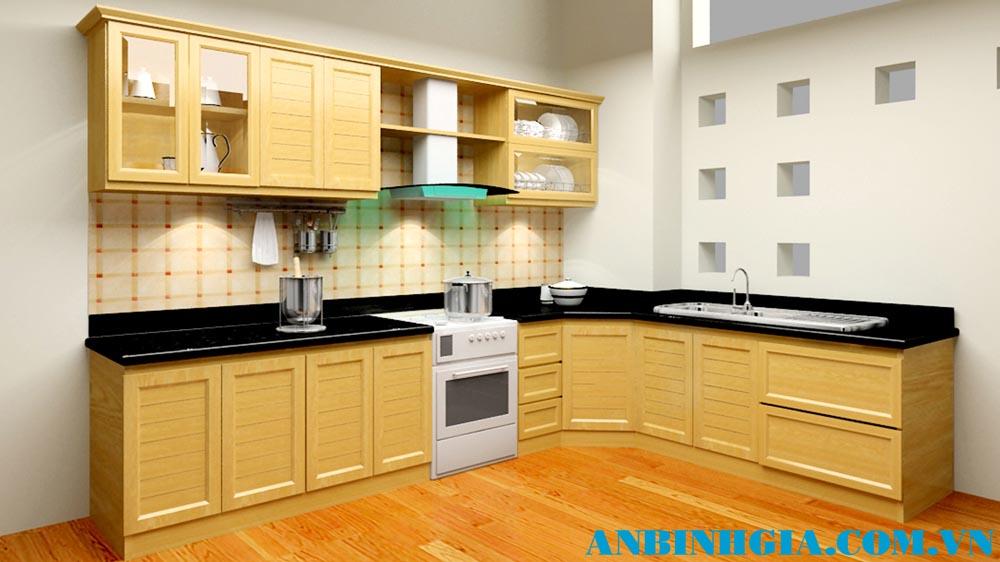 Tủ bếp gỗ tự nhiên Sồi Mỹ - MS 65