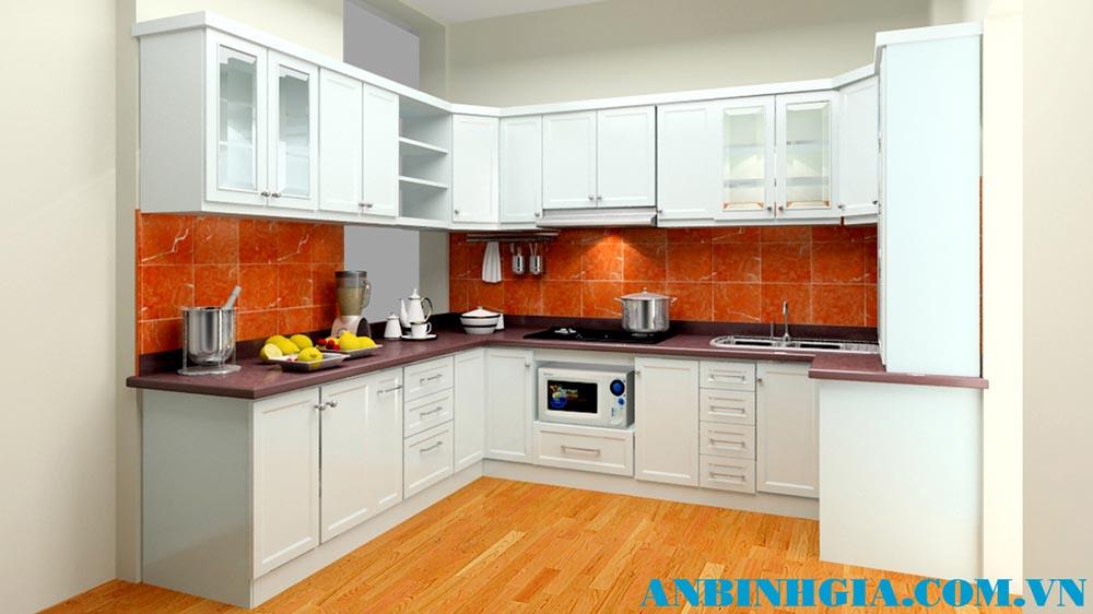 Tủ bếp gỗ tự nhiên sơn trắng - MS 67