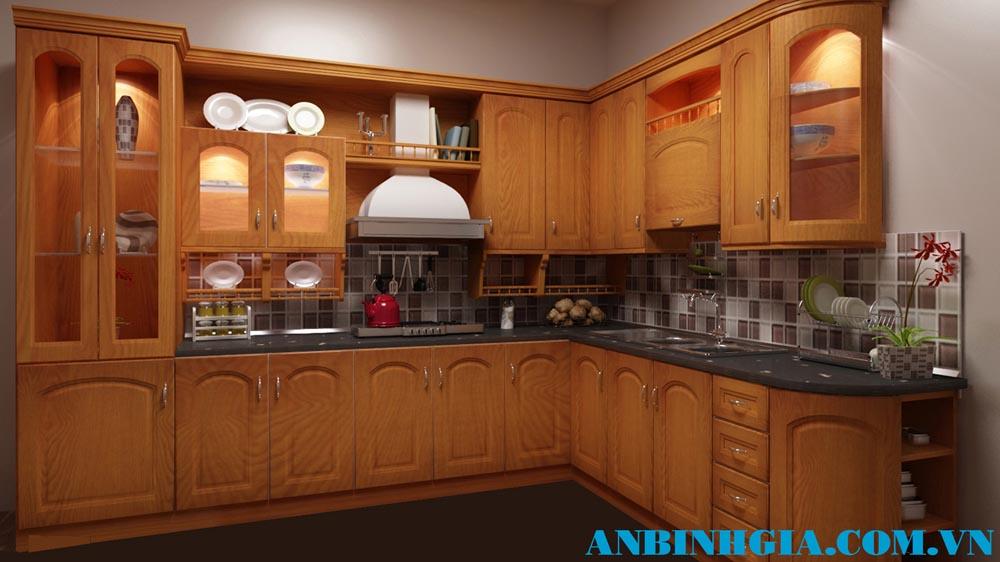 Tủ bếp gỗ tự nhiên Xoan Đào - MS 68