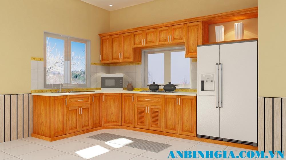 Tủ bếp gỗ veneer Căm Xe - MS 69